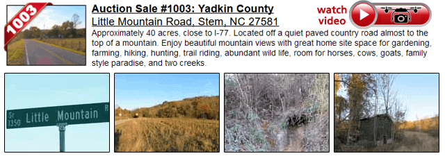 Auction Sale #1003: Yadkin County - Little Mountain Road,  Jonesville, NC 28642