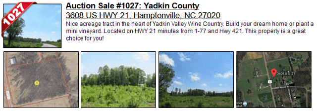 Auction Sale #1027: Yadkin County - 3608 US HWY 21, Hamptonville, NC 27020