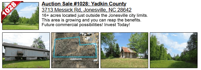 Auction Sale #1028: Yadkin County - 3713 Messick Rd, Jonesville, NC 28642