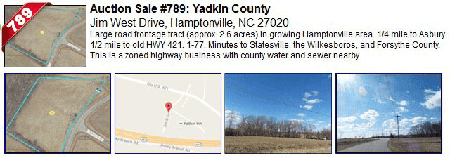 Auction Sale #789: Yadkin County - Jim West Drive, Hamptonville, NC 27020