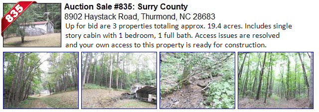 Auction Sale #835: Surry County - 8902 Haystack Road, Thurmond, NC 28683 - also referred to as DEVOTION or DOBSON