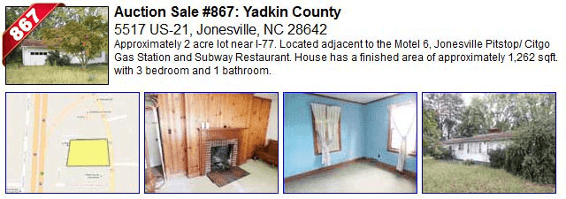 Auction Sale #867: Yadkin County - 5517 US-21, Jonesville, NC 28642