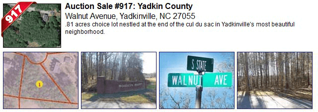 Auction Sale #917: Yadkin County - Walnut Avenue, Yadkinville, NC 27055