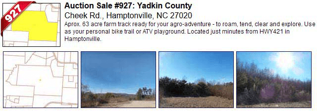 Auction Sale #927: Yadkin County - Cheek Rd., Hamptonville, NC 27020