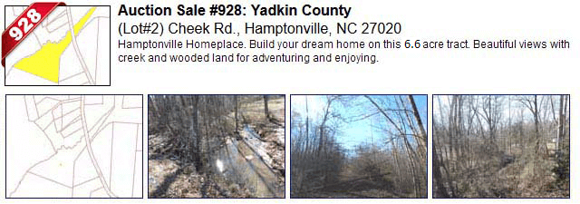 Auction Sale #928: Yadkin County - Lot#2 Cheek Rd., Hamptonville, NC 27020