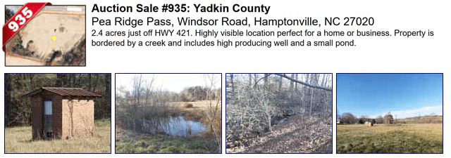 Auction Sale #935: Yadkin County - Pea Ridge Pass, Windsor Road, Hamptonville, NC 27020