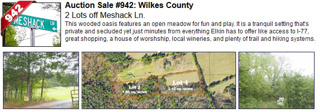 Auction Sale #942: Wilkes County - 2 Lots off Meshack Ln