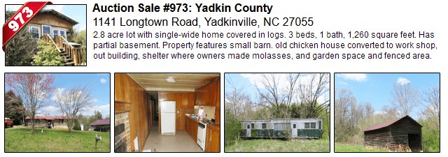 Auction Sale #973: Yadkin County - 1141 Longtown Road, Yadkinville, NC 27055