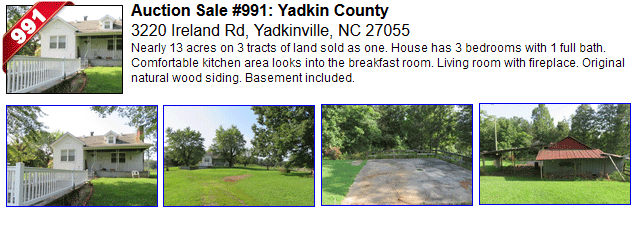 Auction Sale #991: Yadkin County - 3220 Ireland Rd, Yadkinville, NC 27055